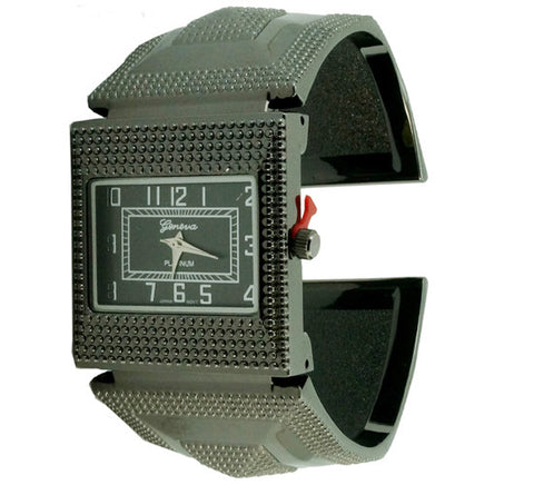 3D Pyramid Pattern Bangle Cuff Watch Rectangular Dial Geneva Platinum - Wrist Stylist