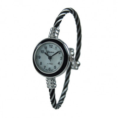 Women's Black & Silver Geneva Platinum Cable Wire Bangle Cuff Watch - Wrist Stylist