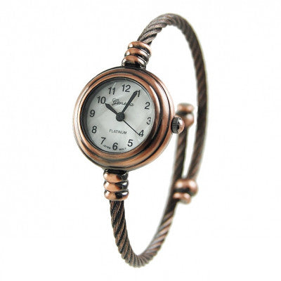 Women's Copper Geneva Platinum Cable Wire Bangle Cuff Watch - Wrist Stylist