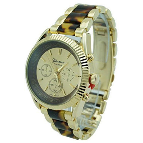 Geneva Platinum Fluted Bezel Turtle Shell Watch 38mm Tortoise/Gold - Wrist Stylist
