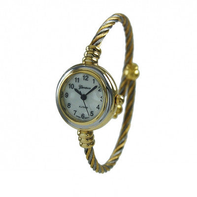 Women's Geneva Platinum 2-Tone Silver & Gold Cable Wire Bangle Cuff Watch - Wrist Stylist