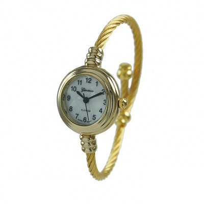 Women's Gold Geneva Platinum Cable Wire Bangle Cuff Watch - Wrist Stylist