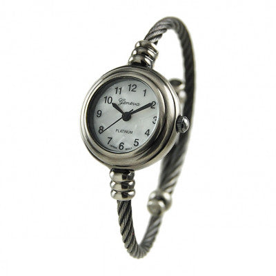Women's Gun Metal Geneva Platinum Cable Wire Bangle Cuff Watch - Wrist Stylist
