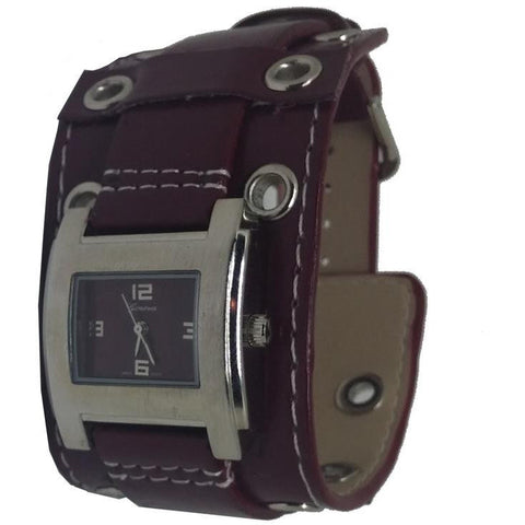 Maroon Geneva Platinum Buckle Cuff Watch - Wrist Stylist