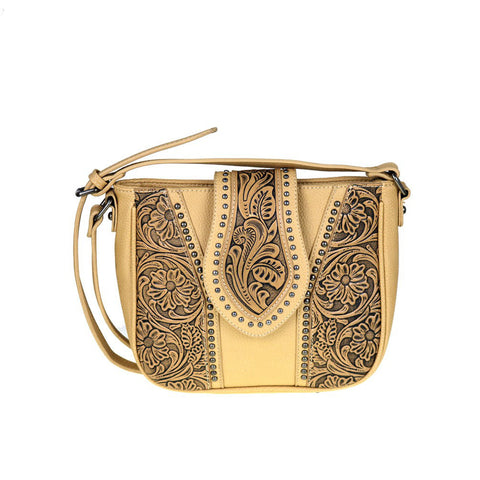 Trinity Ranch Crossbody Bag w/ Tooled Leather Floral Accents - Wrist Stylist