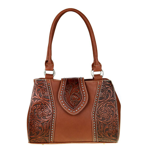 Trinity Ranch Concealed Carry Satchel Handbag w/ Tooled Leather Floral Accents - Wrist Stylist