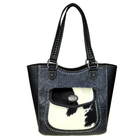 Trinity Ranch Concealed Carry Tote Bag Cowhide Leather Pocket - Wrist Stylist