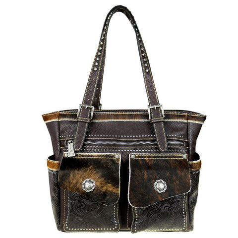 Trinity Ranch Concealed Carry Wide Tote Bag Hair-On Leather & Tooling - Wrist Stylist