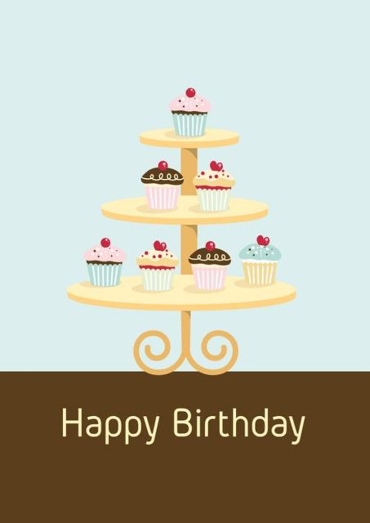 Happy Birthday Cupcake - Birthday Greeting Card For Everyone - CardCraft