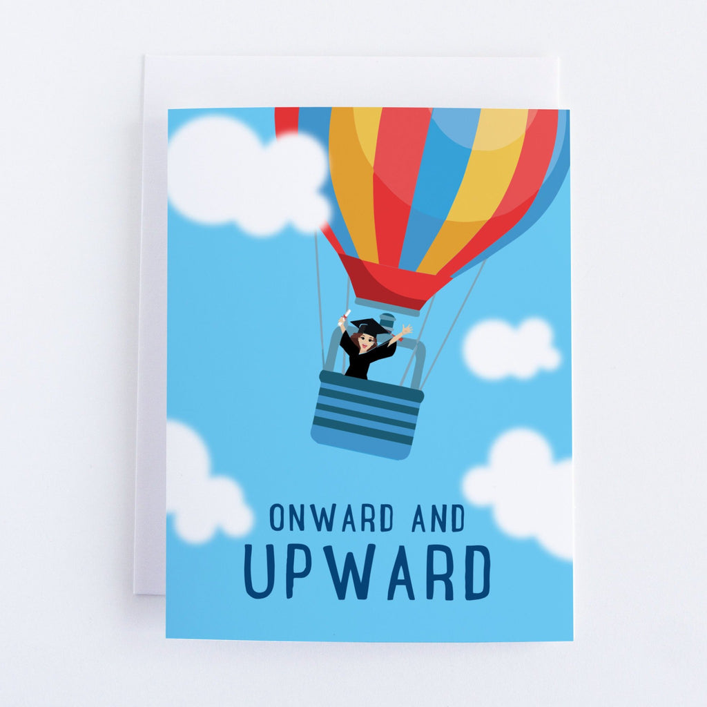 Onwards and Upward - Graduation Congratulations Greeting Card - Balloons & Cap - CardCraft