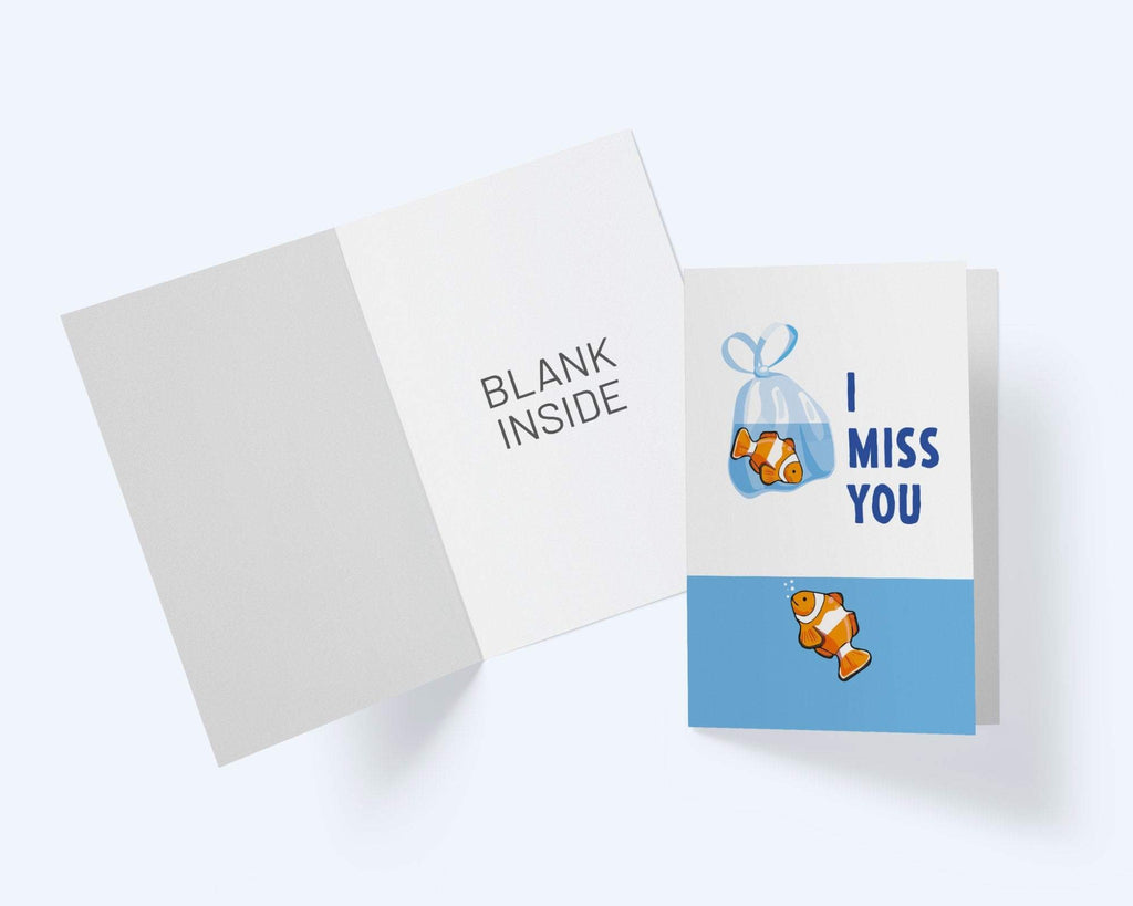 I Or We Miss You Card - Thinking Of You Greeting Card - Clown Fish Card - CardCraft