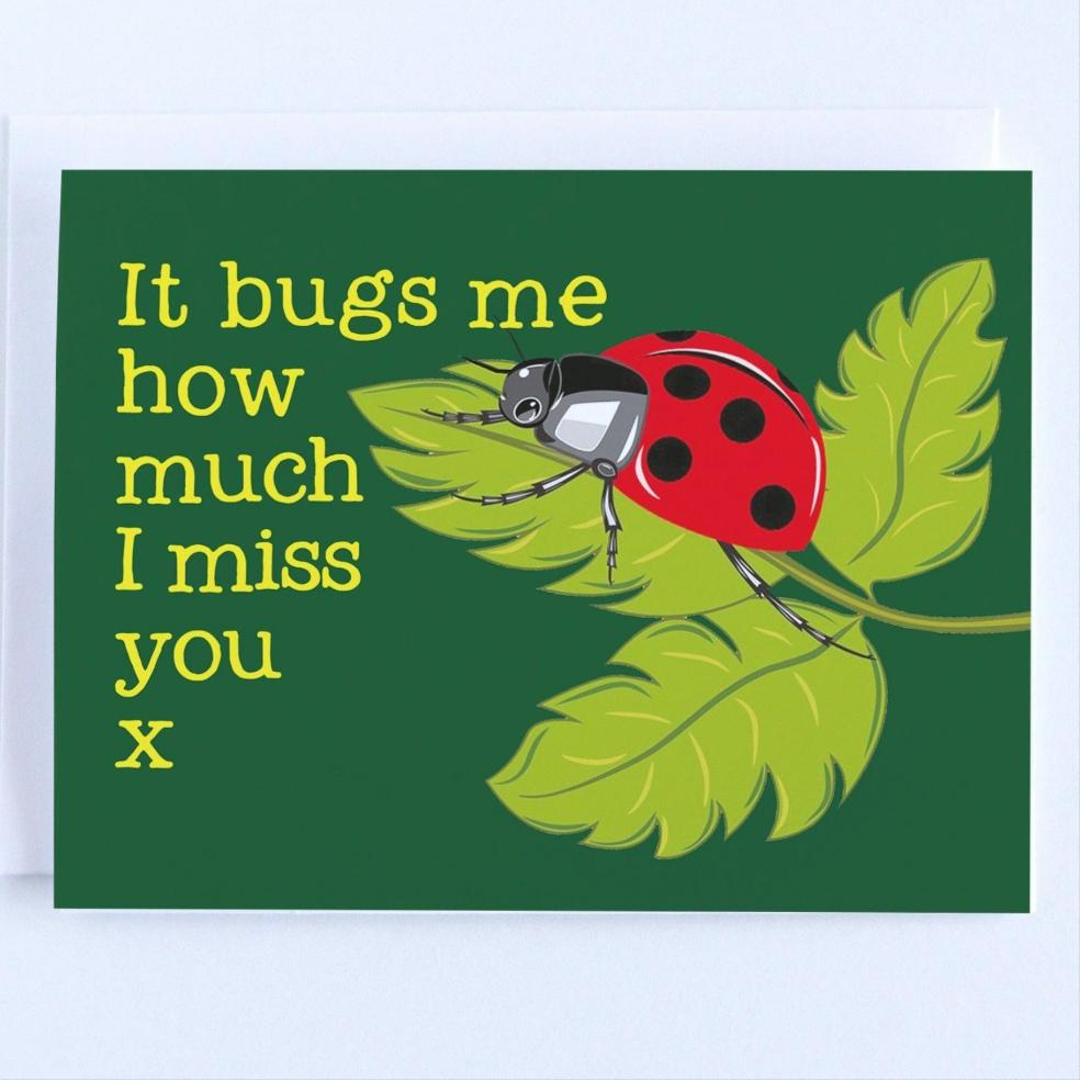 I Miss You - Ladybug Thinking Of You Greeting Card - CardCraft