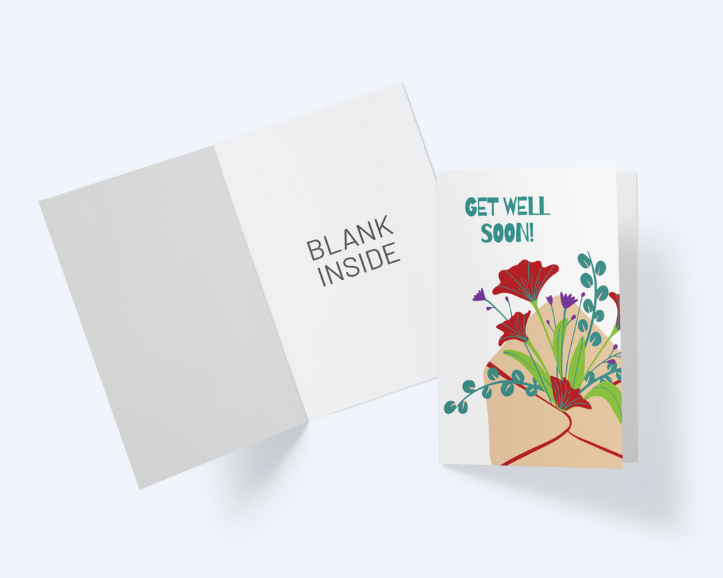 Get Well Greeting Card - Sprouting Flowers - Flower Bouquet Note Card - CardCraft