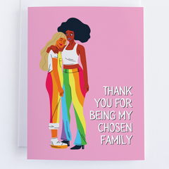 Thank You Chosen Family, Thank You Greeting Card, LGBTQ Thank You Note Card - CardCraft