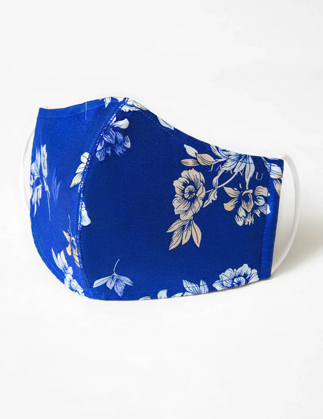 Reusable Antimicrobial Face Mask - Blue Floral (Adult)