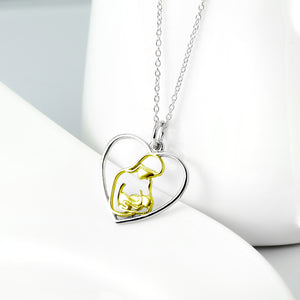 Open Heart Mom's Love Hug Pendant Necklace