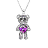 Seven Season Bear With a Purple Crystal Heart Pendant Necklace