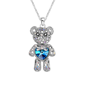 Seven Season Bear With a Blue Crystal Heart Pendant Necklace