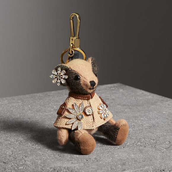 Burberry Thomas Bear in Cape with Crystals in Camel Cashmere Key Charms-Seven Season