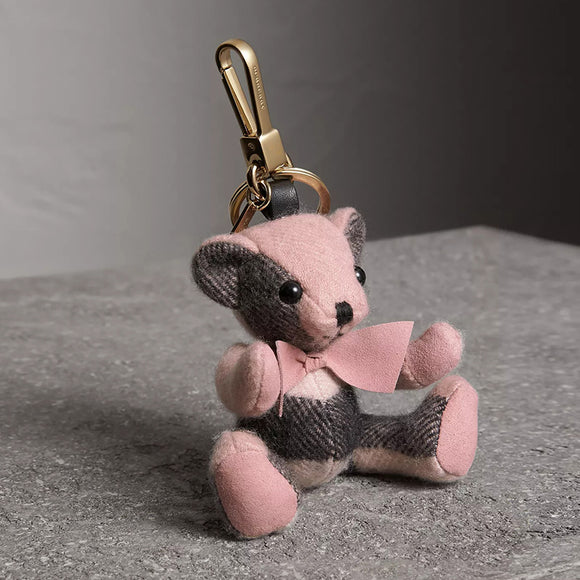 Burberry Thomas Bear in Pink Check Cashmere Key Charms-Seven Season