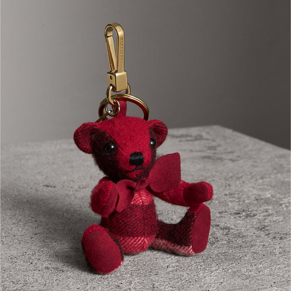 Burberry Thomas Bear in Red Check Cashmere Key Charms-Seven Season