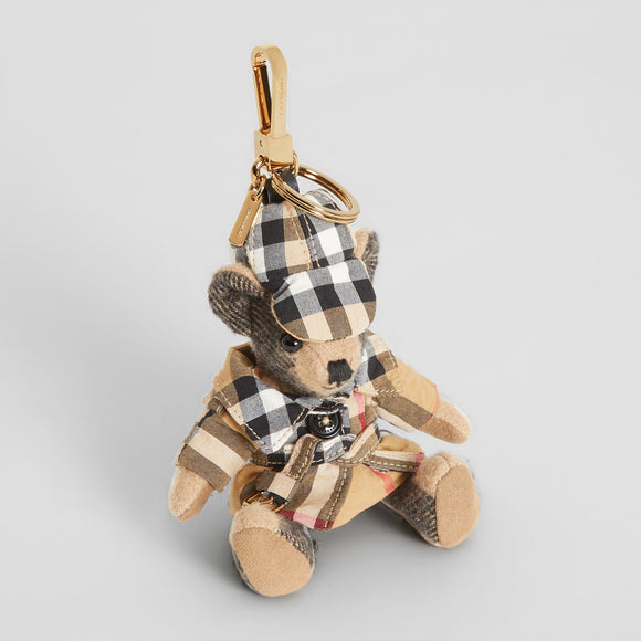 Burberry Thomas Bear in Vintage Check Trench Coat Cashmere Key Charms-Seven Season