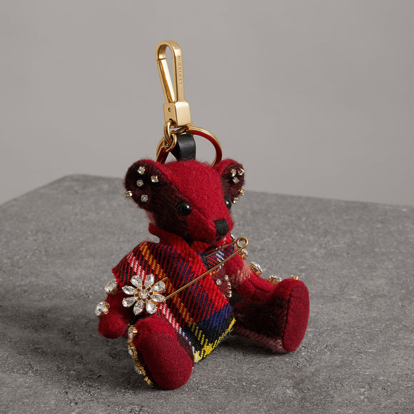 Burberry Thomas Bear with Kilt Pin Cashmere Key Charms-Seven Season
