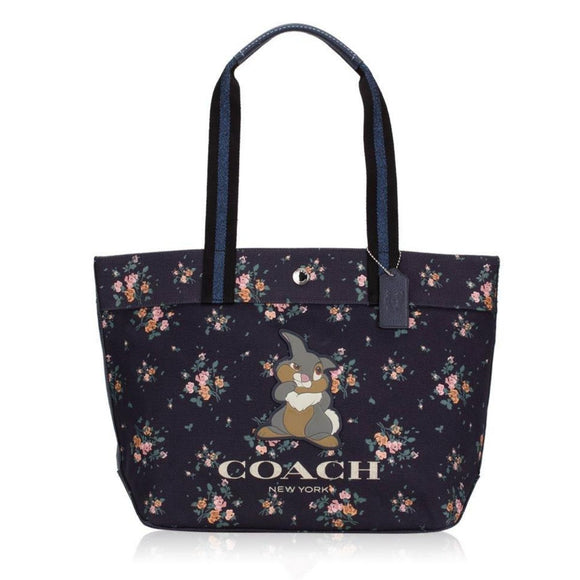 Coach Disney Thumper Midnight Black Canvas Tote-Seven Season