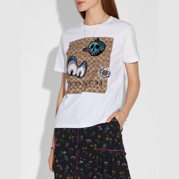 Coach Disney Dark Fairy Tale Signature T-Shirt with Patches-Seven Season