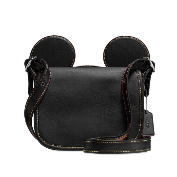 Coach Disney Mickey Mouse Ears Patricia Saddle Black Crossbody Bag-Seven Season