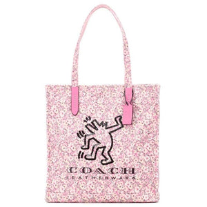 Coach Keith Haring Dancing Man Embellished Floral Print Canvas Tote-Seven Season