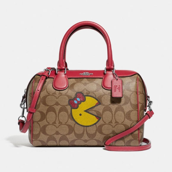 Coach Mini Bennett Satchel in Signature Canvas with Ms. PacMan-Seven Season