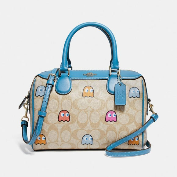 Coach Mini Bennett Satchel in Signature Canvas with PacMan Ghosts Print-Seven Season