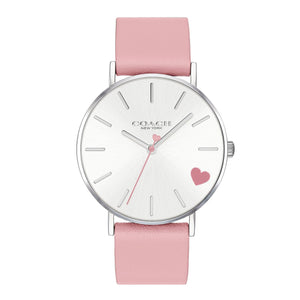 Coach Perry Pink Leather Strap Heart Watch-Seven Season
