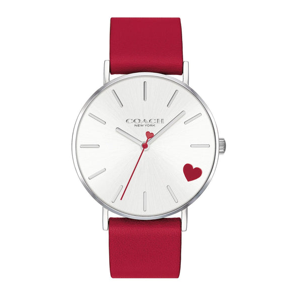 Coach Perry Red Leather Strap Heart Watch-Seven Season