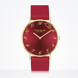 Coach Perry Red Leather Strap Watch-Seven Season