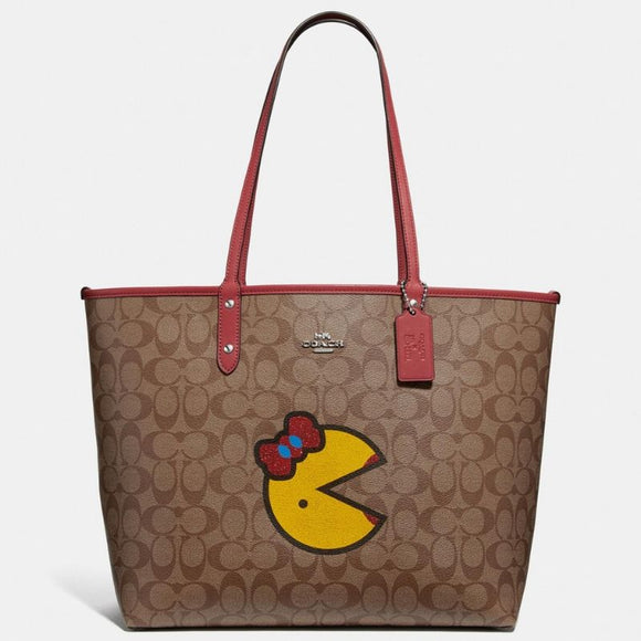 Coach Reversible City Tote in Signature Canvas with Ms. PacMan-Seven Season