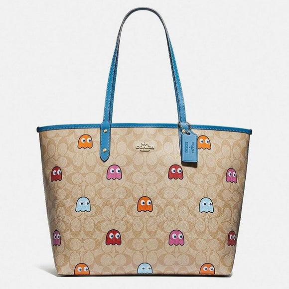 Coach Reversible City Tote in Signature Canvas with PacMan Ghosts Print-Seven Season