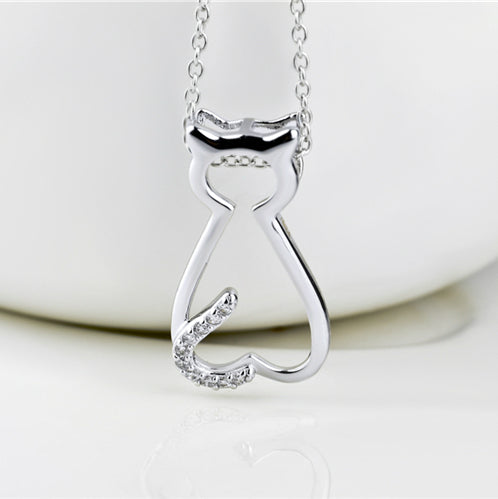 Seven Season Cutie Cat Cubic Zirconia Pendant Necklace