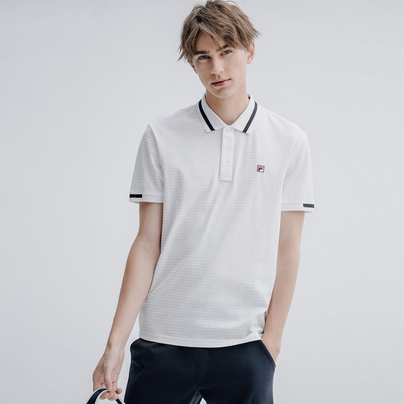 Fila Rib Knit Collar Casual White Polo-Seven Season