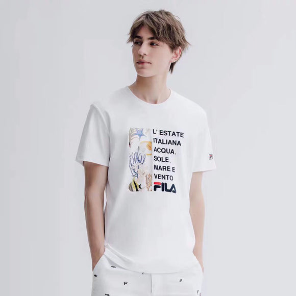 Fila Seaworld and Letter Print White T-Shirt-Seven Season
