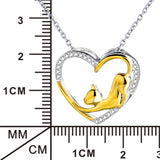 Seven Season Cutie Cat Two-Tone Diamond Heart Pendant Necklace