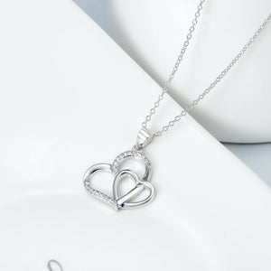 Seven Season Duo Hearts with Pave Cubic Zircon Pendant Necklace