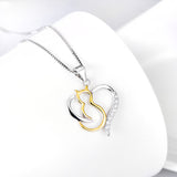 Seven Season Cutie Cat Mystique Gold-Plated Sterling Silver Heart Pendant Necklace
