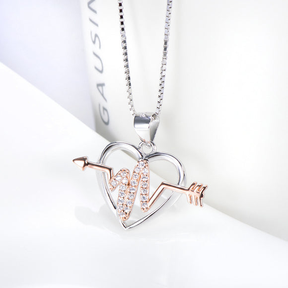 Open Heart and Arrow Cardiogram Pendant Necklace