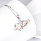 Cupid's Arrow and Heart Pendant Necklace