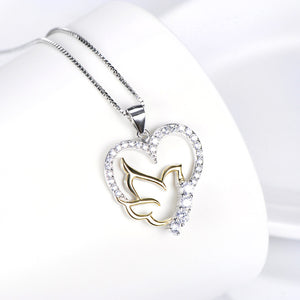 Open Heart and Lovebird Pendant Necklace