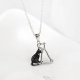 Seven Season Cutie Cat and Dog Enhanced Black and White Pendant Necklace