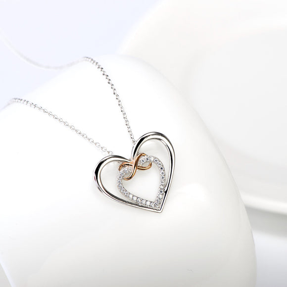 Seven Season Open Heart and Rose Gold Infinity Pendant Necklace