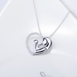Open Heart Mom's Hug Pendant Necklace
